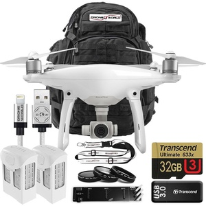 DJI Phantom 4 Bundle Upgrade Kit with Travel Backpack, Lens Filters, 2 Batteries 32 GB Memory Card and Triple Charger