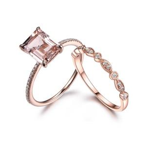 Emerald Cut Morganite Wedding Ring Set,Diamond Engagement Ring,14k Rose gold Art Deco Matching Band