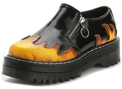 Summerwhisper Women's Stylish Punk Style Flame Round Toe Booties Zipper Platform Leather Ankle Boots Black 5.5 B(M) US