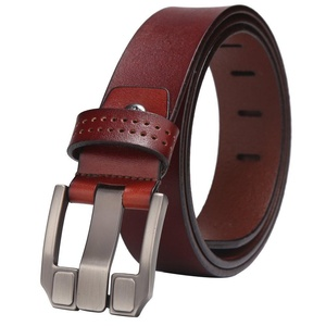 BISON DENIM Men's Belt Leather Waistband Casual Alloy Buckle Belts (105(waist size:32'' or less), Brown)