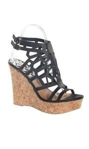 Hadari Women's Black Peep Toe Fashionable Ankle Strap Wedge Platform