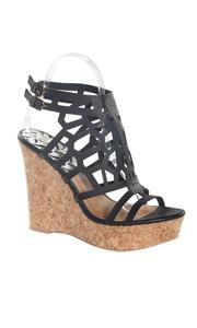 Women's Open Toe Heel Ankle Strap Black Wedge Sandal