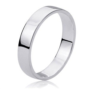 Free Engraving Personalized Sterling Silver 5MM Flat Wedding Band Ring