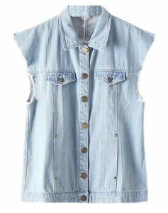 Cruiize Women's Washed Retro Sleeveless Frayed Burrs Denim Vest