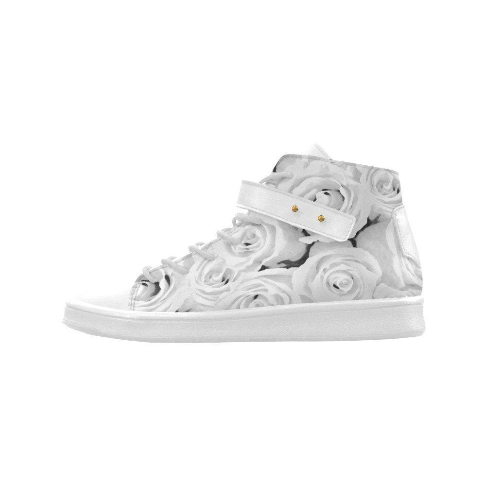 Shoes No.1 Women's Sneakers Lyra Round Toe High-top Shoes White Roses For Outdoor