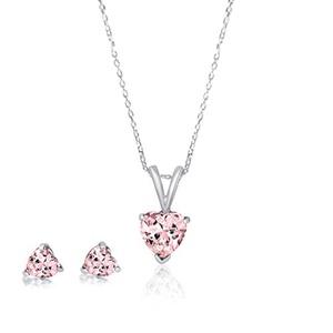 925 Sterling Silver Heart Shaped Pink CZ Earrings & Bracelet Jewelry Set 18 Inch Necklace Cubic Zirconia