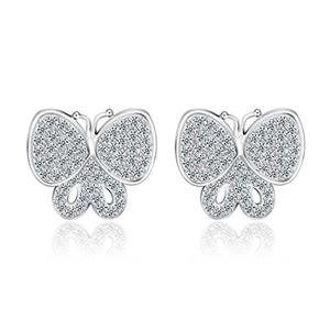 Butterfly Stud Earrings for Women Prom Wedding Party,Top Grade Swiss CZ Earrings For Girl M&M Jewelry