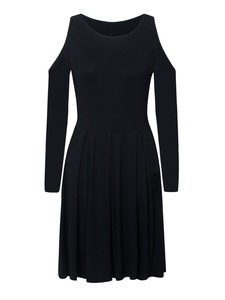 Choies Women's Black Solid Cold Shoulder Long Sleeve Mini Pleated Skater Dress L