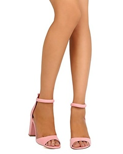 Qupid FE64 Women Faux Suede Peep Toe Ankle Strap Block Heel Sandal - Pink (Size: 7.5)