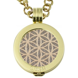 Quiges - Women Stainless Steel Necklace with 25mm Coin Locket and Coin Tree of Life/Flower of Life #1500