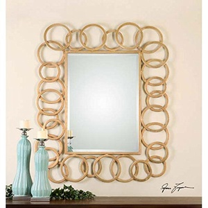 Gold Rings Decorative Beveled Wall Mirror Large 52