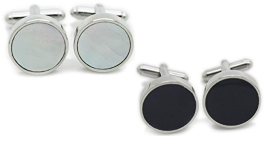 2 Pair Set of White Abalone Mother of Pearl & Black Formal Cufflinks by The Proper Cuff