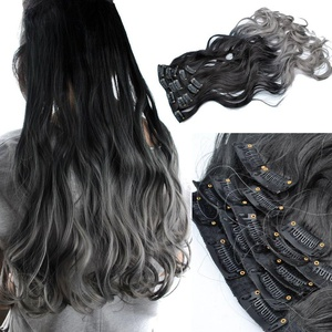 24 Inches Ombre Color 1B/Dark Grey Long Curly Wavy Clip in on 7 Pieces Full Head Set Hair Extensions 7pcs Hairpiece