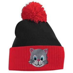 Pom Pom Beanie - Kitten Cat - Red and Black