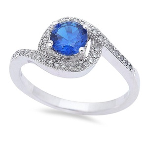 Solitaire Accent Swirl Wedding Engagement Ring Round Simulated Blue Sapphire Round CZ 925 Sterling Silver