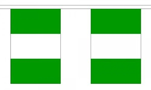 Nigeria Bunting 9M Metre Length With 30 Flags 9X6 100% Woven Polyester by Nigeria