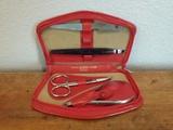 Vintage LA CROSS Gold Fleur Manicure Travel Pocket Set in Red Leather Case