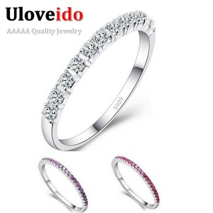Slyq Jewelry Engagement L Ring Sets Multicolor Silver CZ Shop Jewelry White Stone Anel Strass Bagues Femme J029