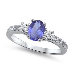3 Stone Accent Wedding Engagement Ring Oval Cut Simulated Tanzanite Round CZ 925 Sterling Silver
