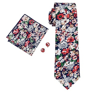 Hi-Tie Men's Floral Cotton Tie Set Wedding