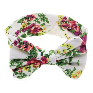 Cute Baby Kids Girl Children Print Floral Bowknot Hair Band Turban Knot Headband Color:White