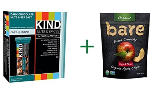 Kind Nuts & Spices Bars Dark Chocolate Nuts & Sea Salt -- 12 Bars, ( 2 PACK ), Bare Organic Baked Crunchy Apple Chips Gluten Free Fuji & Reds -- 3 oz