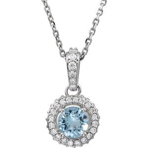 14kt White Aquamarine & 1/4 CTW Diamond 18