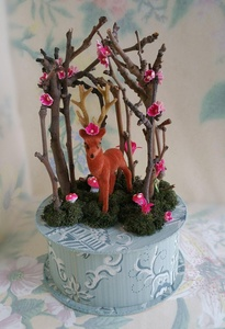 Handmade Vintage Wallpaper Gift Box with Flocked Deer, Vintage Mushrooms and Flowers