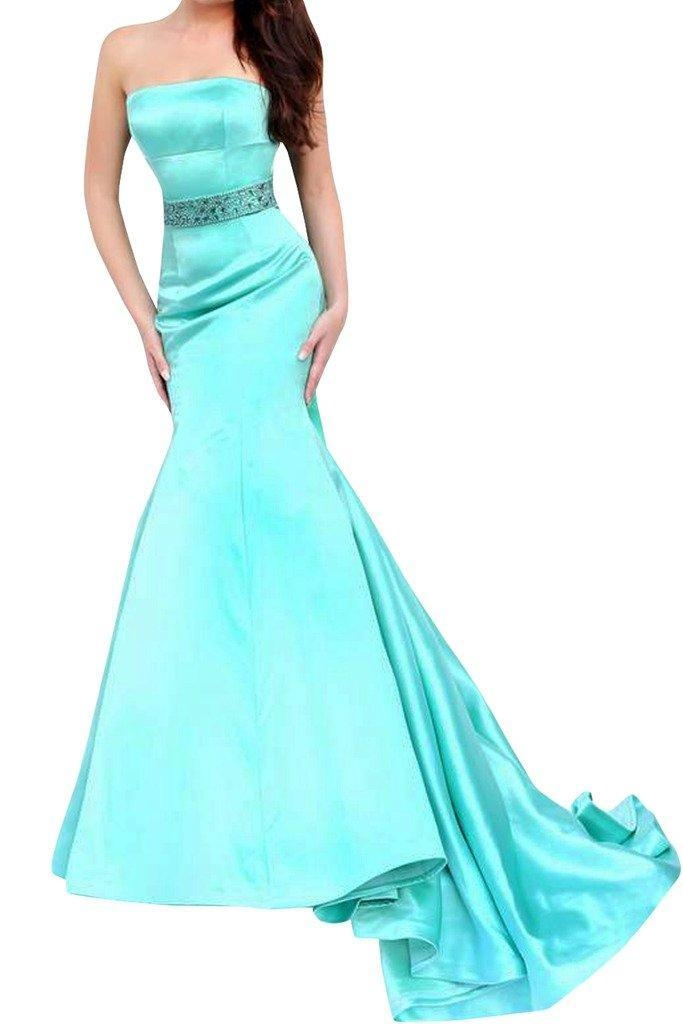 Winnie Bride Strapless Prom Dress Long Fitted Formal Evening Gown for Wedding-4-Cyan
