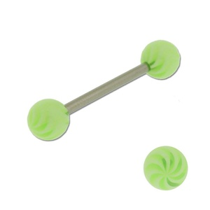 Acrylic Barbell Tongue Ring with Green Spiral Ball