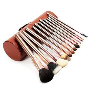 DE'LANCI 13 Pcs Professional Makeup Brush Set Cosmetic Foundation Blending Brushes Tools Kit with Cylinder Cup Holder Leather Case (13pcs Brown) by DE'LANCI