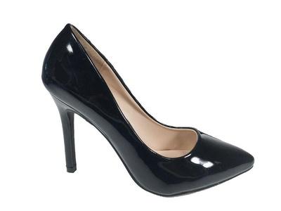 Top Guy Bat-26 Womens Patent leatherette Pointy Toe Pumps High Heel Mary Jane Stilettos Black