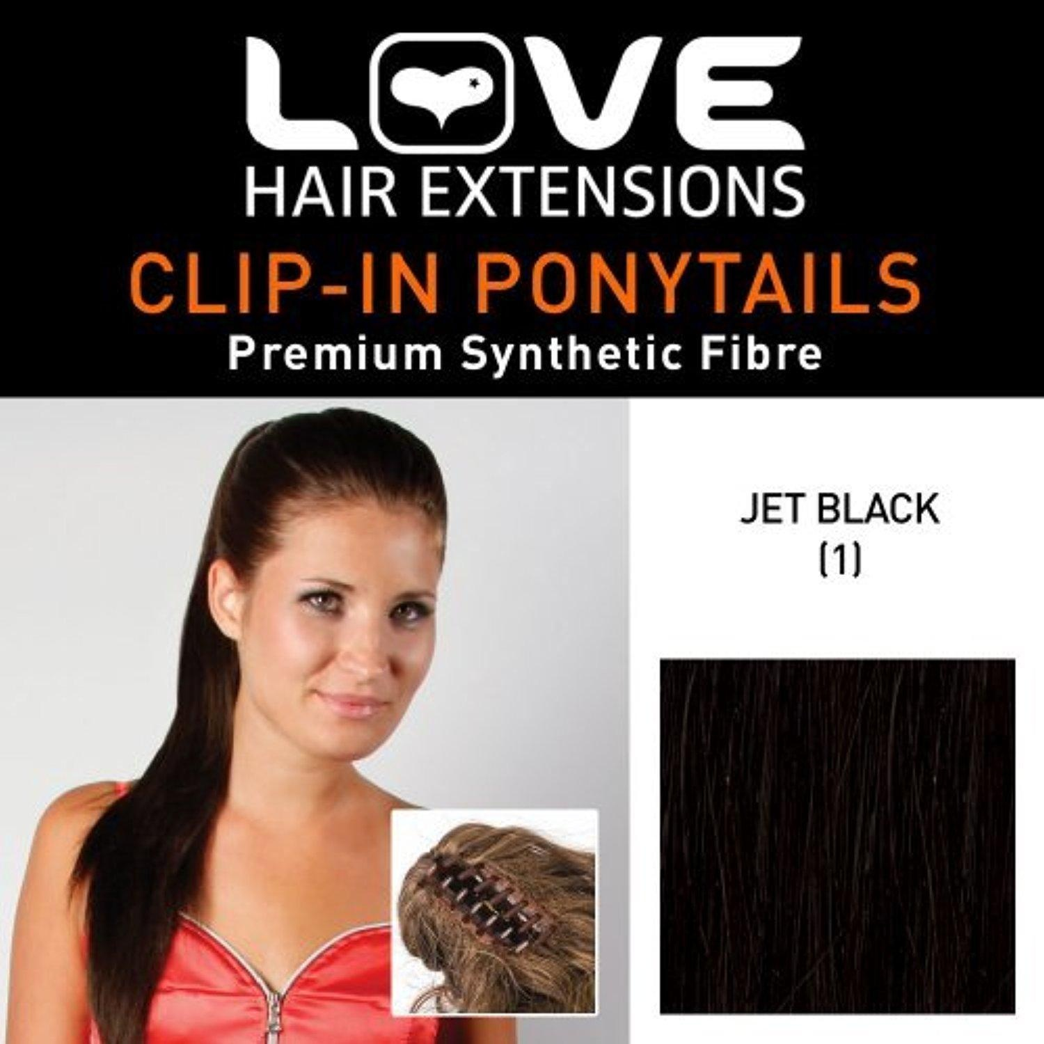 Love hair Extensions Alice Crocodile Clip Synthetic Hair Ponytail Colour 1 Jet Black 18 -Inch by Love Hair Extensions