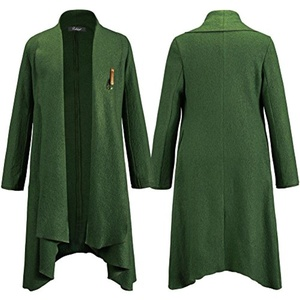 Kearia Womens Classic Warm Winter Open Front Irregular Hem Woolen Blended Long Coat Outwear Green Medium