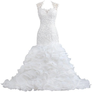 Women's Mermaid Wedding Dresses Lace Ruffle Organza Bridal Gown Size 18W US Ivory