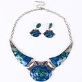 ARICO Jewelry Set Moon Enamel Jewelry Set Purple Jewelry Geometric Necklace Set Earrings NB133