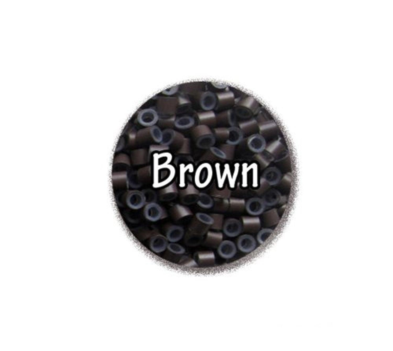 Silicone Micro Rings Beads - 100 Brown 5mm rings for I Tip Hair Extensions or Feather Hair Extensions by Kiara H&B