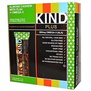 KIND Healthy Snacks, Kind Plus, Fruit & Nut Bars, Almond, Cashew + Omega-3, 12 Bars, 1.4 oz (40 g) Each