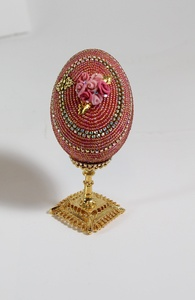Decorated Egg Swarovski Crystal Red, Rose Front Box