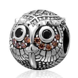Leobeads Authentic 925 Sterling Silver Wise Owl Head Charms Beads with Zircon Birthstone Fit Pandora Style Bracelet