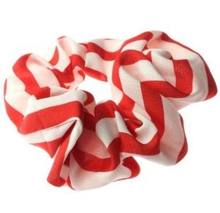 Hair Scrunchies Elastic Bobble Girls Ladies Gymnastics Sports Scrunchy Red Stripe by Cherry-on-Top