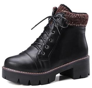 IDIFU Women's Comfy Lug Sole Mid Chunky Heels Platform Ankle Martin Boots Lace Up Black 8 B(M) US