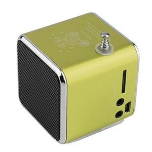 Portable Speaker Micro USB Mini Stereo Super Bass Aluminum alloy Speakers Music MP3/4 FM Radio Built-in rechargeable battery-Green