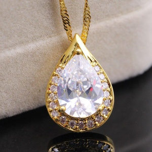 Bling Bling White Cubic Zirconia CZ 24K Gold Plated Crystal Pendant Necklace