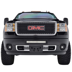 X-restyling 11-14 GMC Sierra 2500HD/3500HD Rivet Black Overlay Stainless Steel Wire Mesh Grille (XPRN82422)