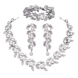 Pearl Leaf Wedding Bridal Crystal Jewelry Sets for Women (1 Set Earrings,1 PCS Necklace,1 PCS Bracelet)