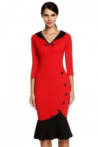 V Neck Button 3/4 Sleeve Slim Fishtail Dress medium red