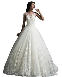 Angel Formal Dresses Women's Scoop Straps Vintage Lace Wedding Dresses (16, Ivory)