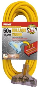 Prime Wire & Cable LT611830 50-Foot 12/3 SJTOW Bulldog Tough Heavy Duty Triple-Tap Extension Cord with Prime Light Indicator Light, Yellow by Prime Wire & Cable