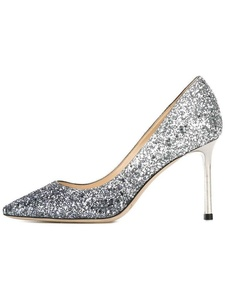 Eldof Womens High Heel Pumps | 8cm Pointy Toe Silver Grandient Glitter Heels | Slide in Classic Wedding Pumps Silver Grandient US5